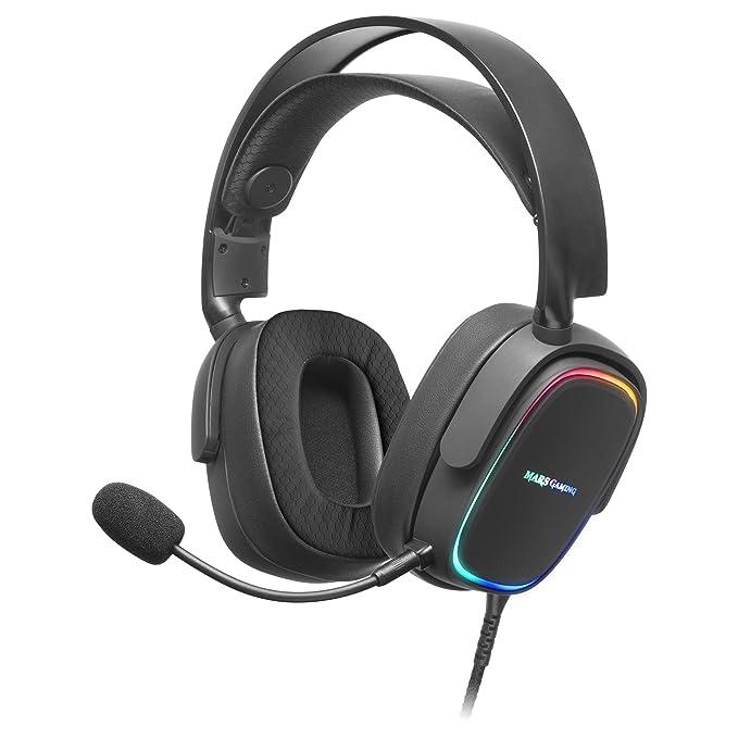 MARSGAMING MHAX Negro, Auriculares RGB Multiplataforma con Mic extraíble, 53 mm HiFi, Grande