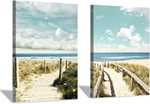 Beach Pathway Canvas Wall Art: Coastal Fences Picture Painting Print for Wall Decor(18''x24''x2pcs)