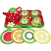 Liberty Imports Colorful Tin Tea Party Set for Kids - Metal Teapot and Cups Kitchen Playset (Fruit Garden)
