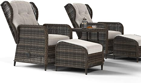 Aspen Reclining Rattan Garden Lounger Set in Brown with Table & Footstools Range
