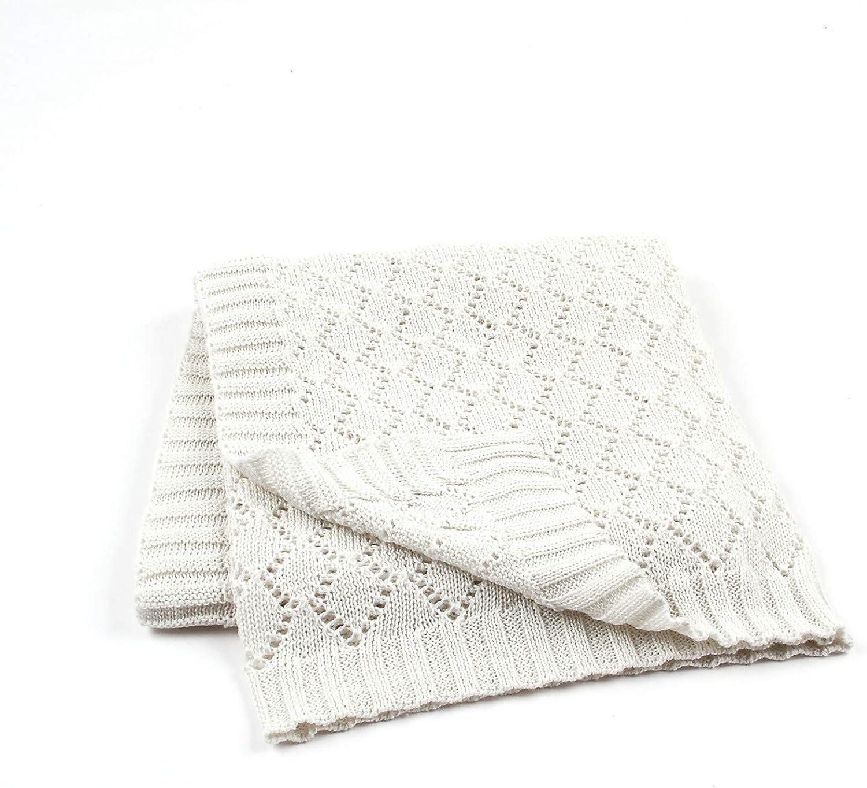 VARWANEO Newborn Blanket Knitted Lightweight Cellular Baby Blanket for Boys Girls Swaddle Wrap Blanket Size 40x30 Inch