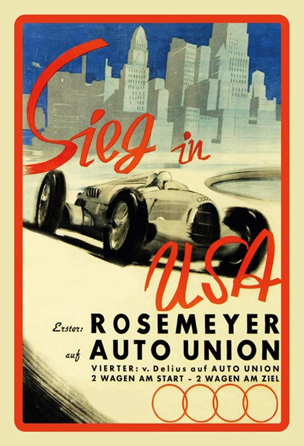 Nololy Sieg In USA Rosemeyer Union Cartel De Chapa Póster De ...