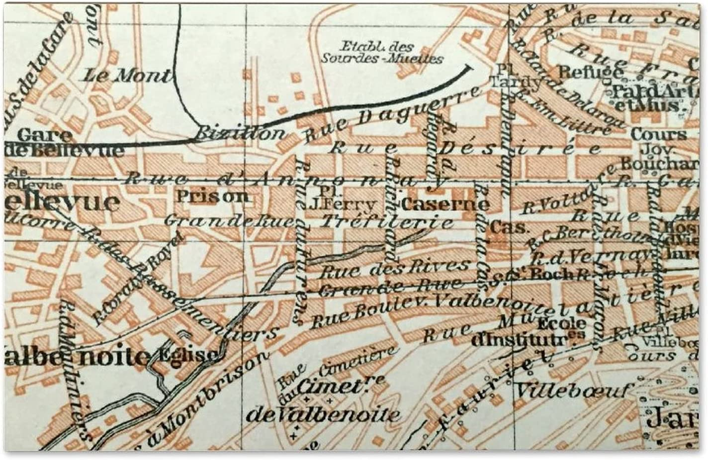 ArogGeld Map of 1914 St. Etienne Wood Sign,Wooden Wall Hanging Art,Inspirational Farmhouse Wall Plaque,Rustic Home Decor for Living Room,Nursery,Bedroom,Porch,Gallery Wall