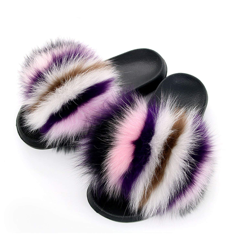 High end Fur Slippers Fox Fur Slides Flat Plush Shoes Room Slipper Cute Pantufa,7MUS,Pink