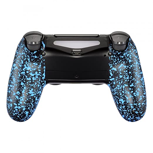 eXtremeRate Textured Blue Bottom Shell, Comfortable Non-Slip Back Housing, 3D Splashing Case Cover, Game Improvement Replacement Parts for PS4 Slim ...