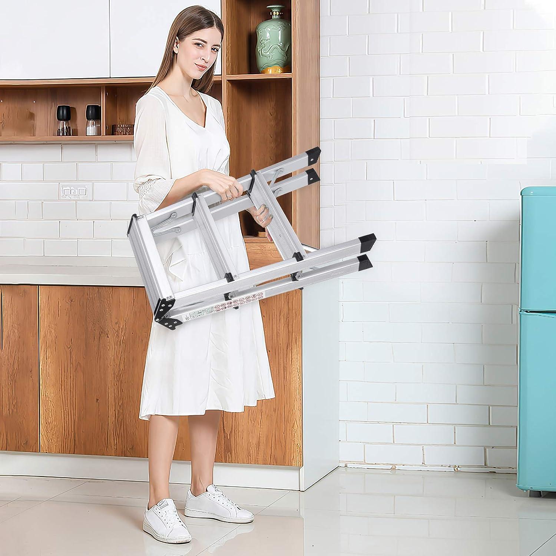 Capacit/é de Charge 150 kg Femor Escabeau Double 3 Marches Antid/érapant Marchepied Pliant pour Maison//Cuisine//Garage /Échelle Domestique Pliable en Aluminium
