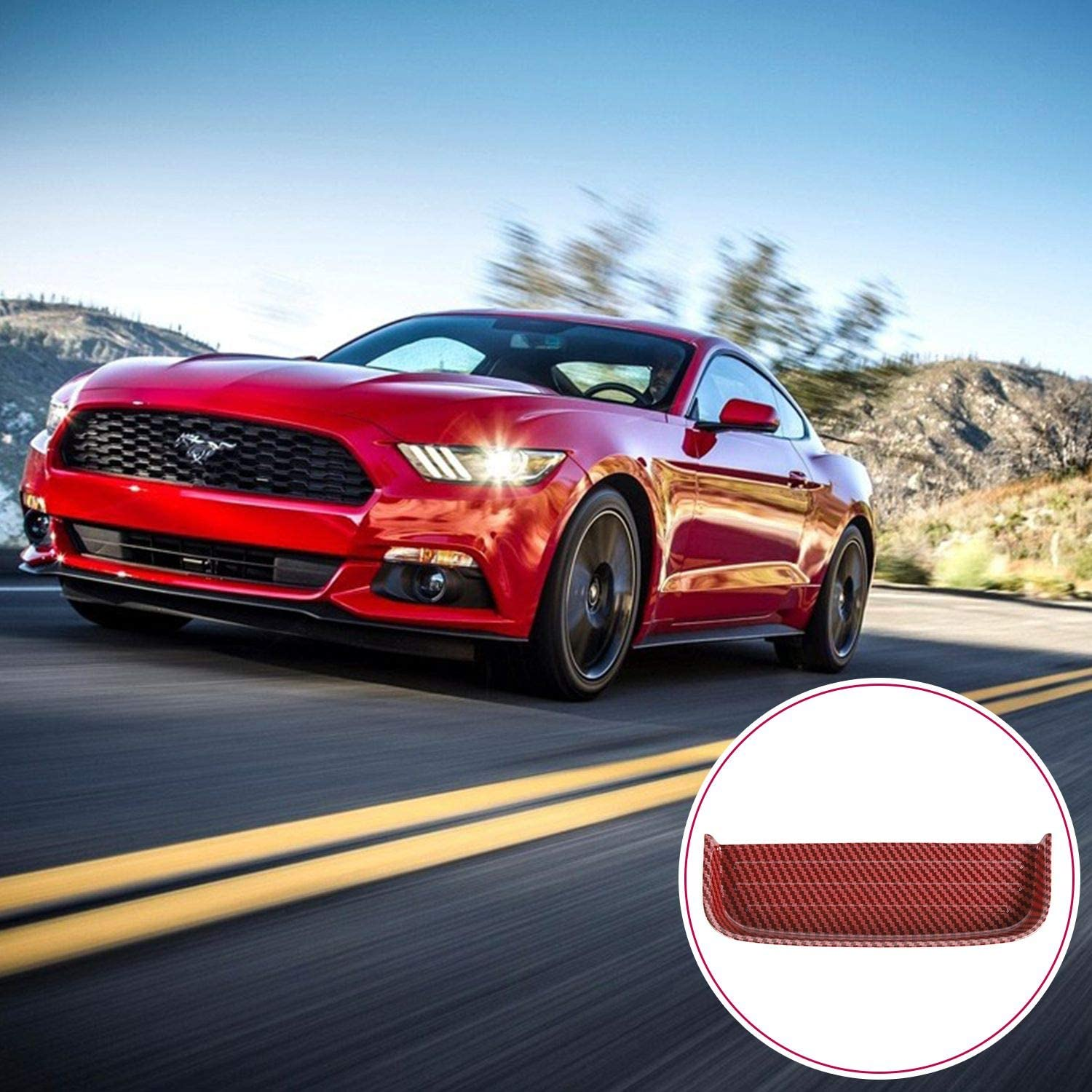 JeCar Front Gear Shift Storage Box Coin Tray for Ford Mustang 2015-2019 Red Carbon Fiber