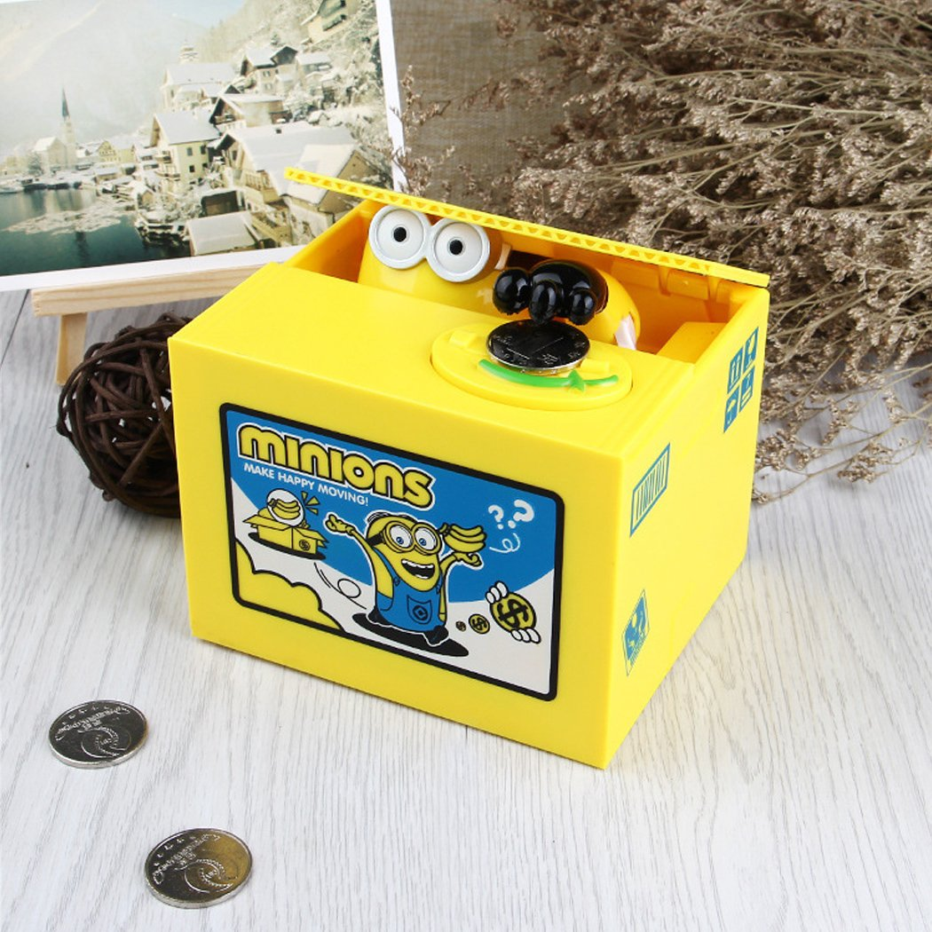Cute Coin Bank, Stealing Coin Money Box Piggy Bank, Saving Box Money Box Kids Children Present Gift - Yellow