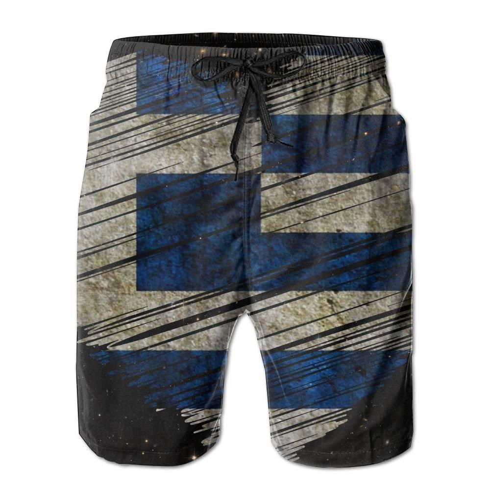 Vintage Greek Flag Love Heart Men's Boardshort XL Fashion Printing Beach Shorts Swim Trunks