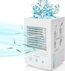 Fitfirst Acondicionador de Aire Portátil Batería Recargable Personal 5000mAh 180 ° Oscilación Automática con 3 Velocidades, 3 Niveles de Enfriamiento para Oficina, Dormitorio, Aire Libre, etc.