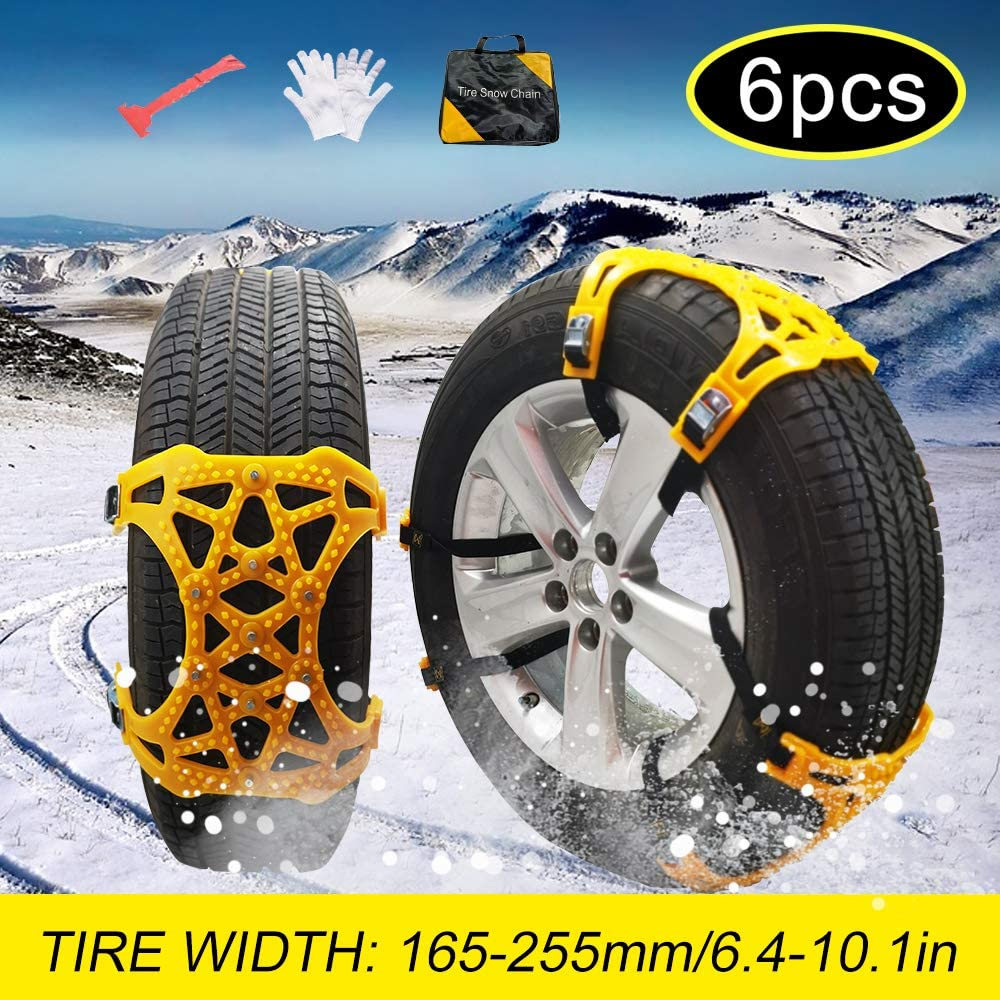 Amazon Com Soyond Snow Chains Car Anti Slip Snow Tire Chains Adjustable Anti Skid Chains Car Tire Snow Chains For Car Suv Trucks Set Of 6 Tire Width 165 255mm 6 4 10 1 Automotive