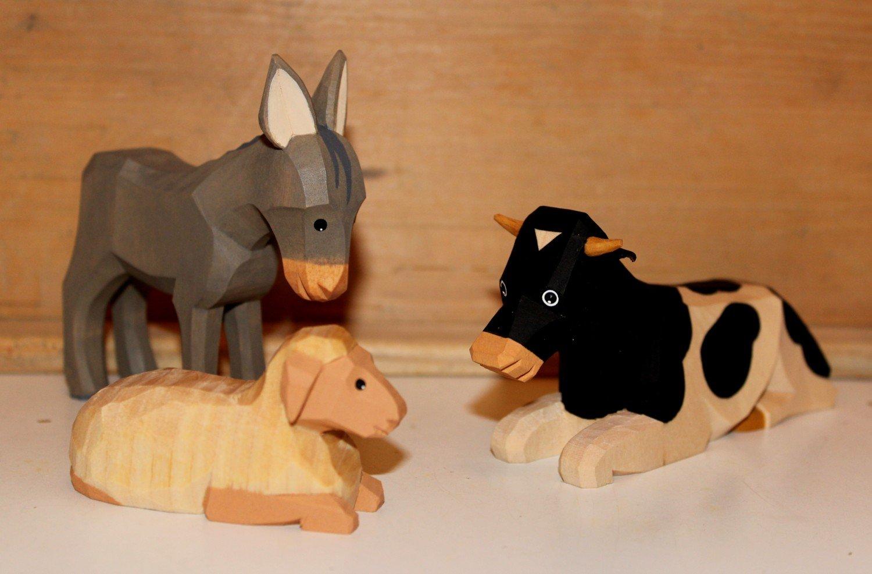 Krippenfigur SET Ochs Schaf Esel und Schaf Ochs Lotte Sievers-Hahn mit Baumwollbeutel 85e0ff