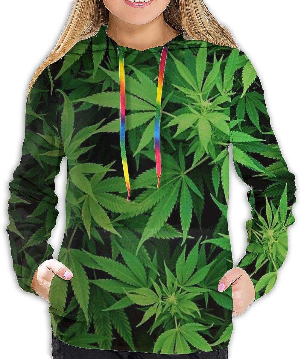 Sudadera con capucha para mujer, diseño de marihuana y marihuana, con bolsillo