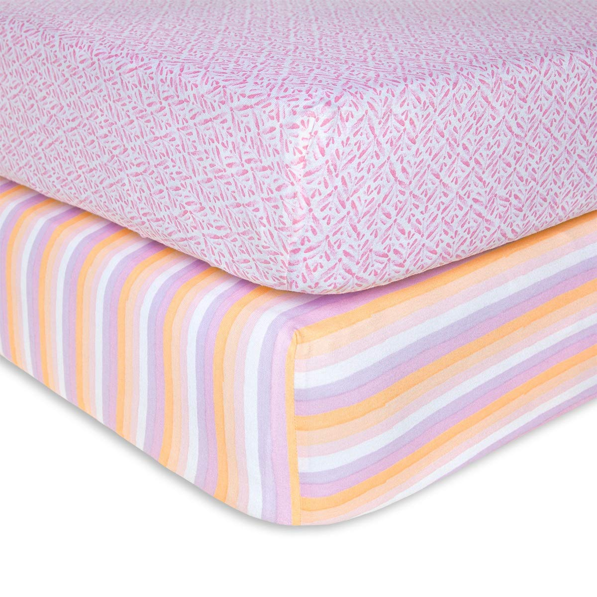 Burt's Bees Baby - Fitted Crib Sheets, 2-Pack, Girls & Unisex 100% Organic Cotton Crib Sheet for Standard Crib and Toddler Mattresses (Sunset Stripe) by Burt's Bees Baby