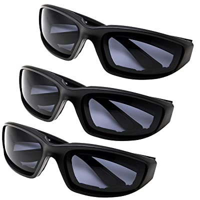 All Weather Protective Shatterproof Polycarbonate Motorcycle Riding Goggle Glasses 3 Pack Set Pouches NOT included (Day Ride Pack): Automotive