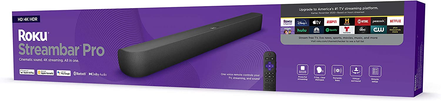 Roku Streambar Pro | 4K/HD/HDR Streaming Media Player & Cinematic Sound, All in One, Includes Roku Voice Remote with Headphone Jack for Private Listening, Personal Shortcut Buttons, and TV Controls