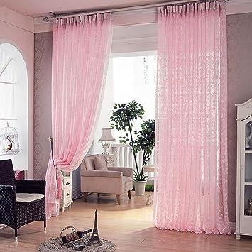 enfant fille chambre deco rideau rose voilage fenetre 200cm x 100cm rose