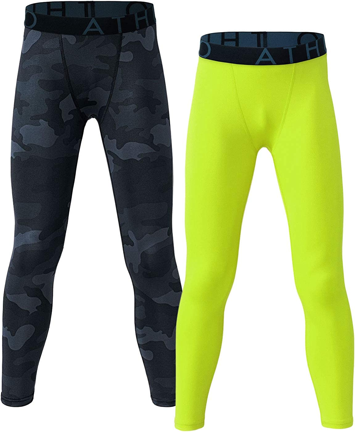 ATHLIO 1 or 2 Pack Boy's UPF 50+ Compression Pants Baselayer, Cool Dry Active Running Tights, 4-Way Stretch Workout Leggings: Clothing