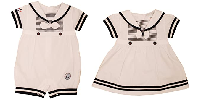 13bf86754d3 Baby Infant Boys Girls White Navy Sailor Nautical Romper or Dress  Christening Party Holiday Wedding (0-3 Months