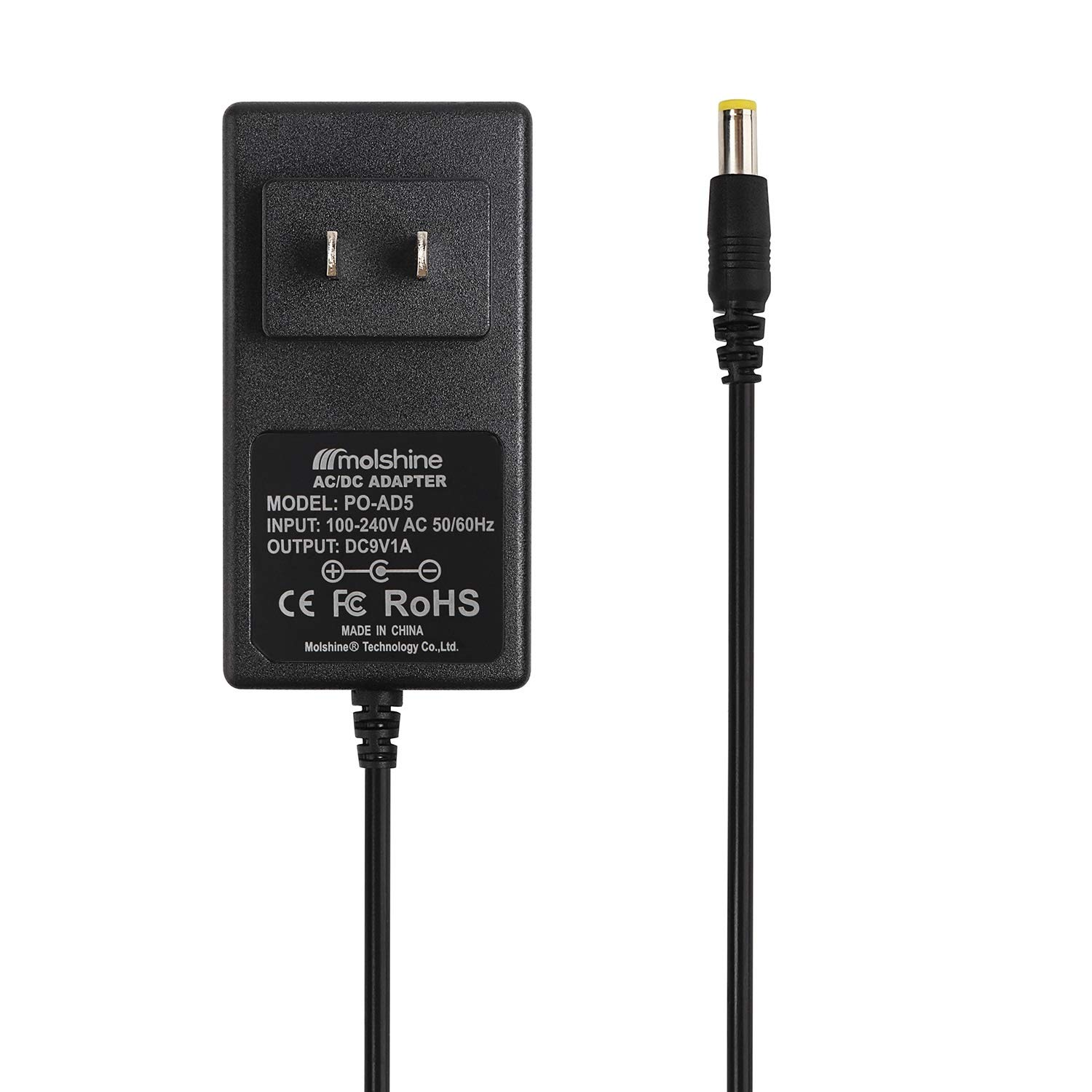 Molshine Compatible (9.8ft Cable) 9V AC DC Power Adapter AD5 Charger WTAD5 AD5 AD-5 AD5MR AD-5MR AD5UL AD-5UL AD-5EL AD-5MLE, Fit for Casio Piano Keyboard (CA CT CTK MA MT PRO LK WK HT Series & etc.)
