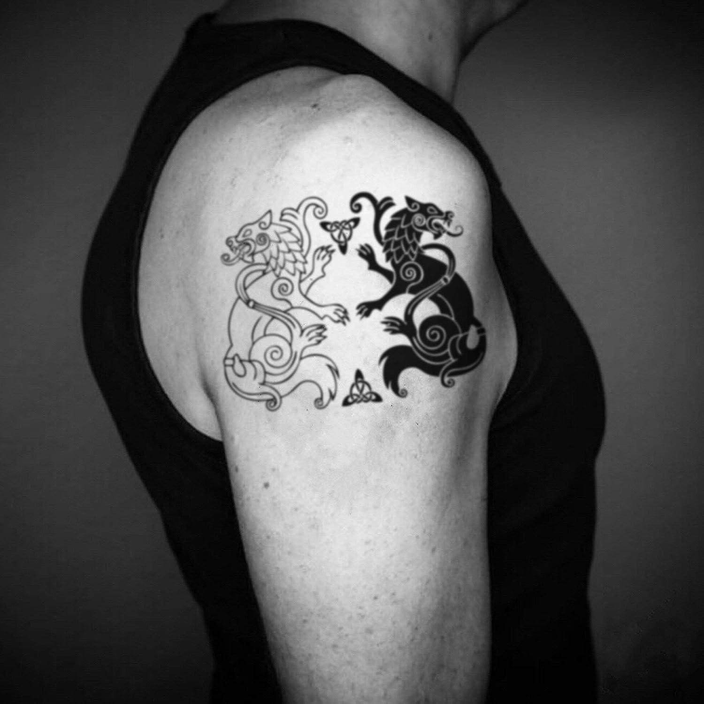 Tatuaje Temporal de Lobos de Geri y Freki Odin (2 Piezas) - www ...