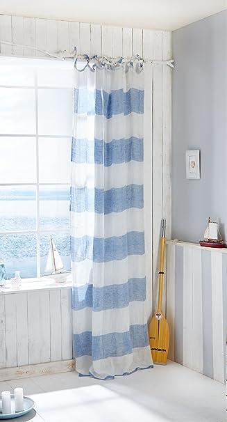 Vorhang Maritim - Bindebänder - Blockstreifen - 100% Leinen - Blau ...