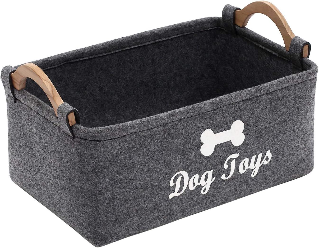 Geyecete Dog Toys Storage Bins - with Wooden Handle, Pet Supplies Storage Basket/Bin Kids Toy Chest Storage Trunk C705-Big (Dark Grey)