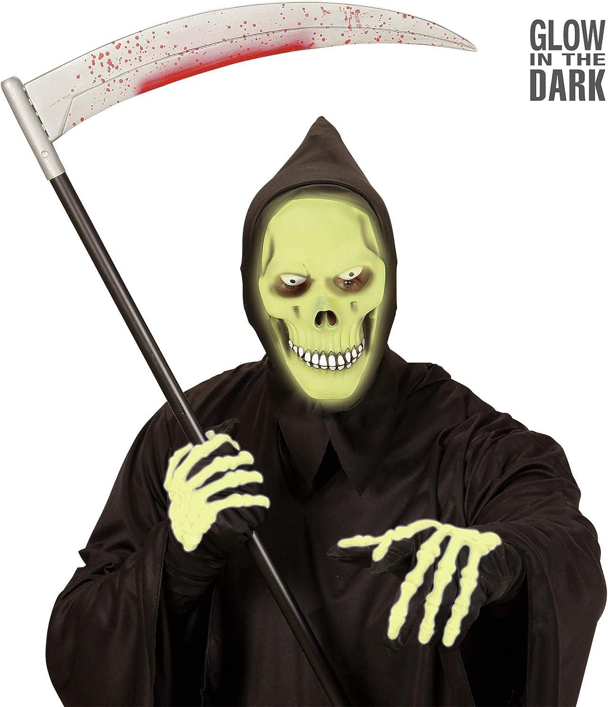 Multicolore 8003558003693 WIDMANN Cappuccio Morte Verde Fosforescente Maschera Horror 482 Ragazzo
