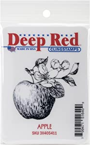 "Deep Red Stamps Apple Cling Stamp, 2"" by 2"", Deep Red"