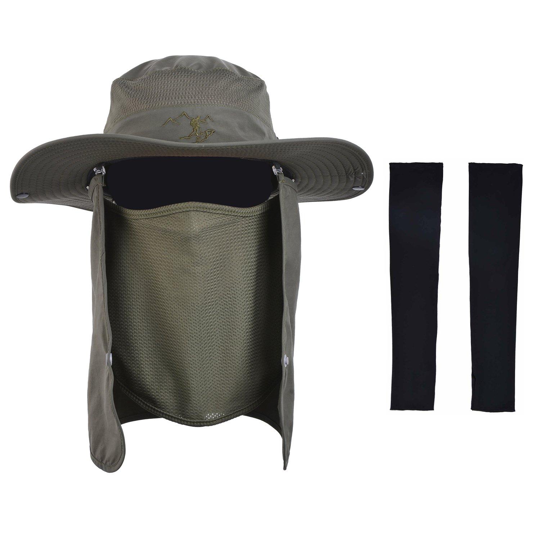 Zoylink Cappello da Pesca, Peccato Protezione UV Cappello da Bucato Manicotti del Braccio della Copertura della Falda del Collo Staccabile per Uomo