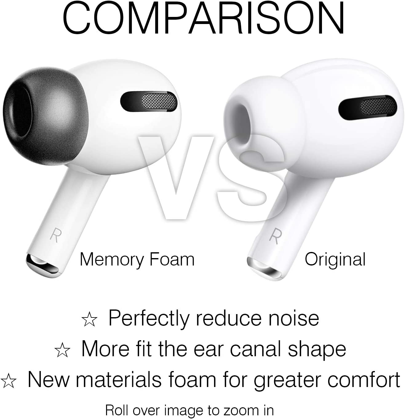 BENPAO Airpods Pro Ear Tips Black Non-Slip Soft Protective Ear Hooks Compatible with Airpods Pro//Airpods 3 2 Pairs Memory Foam Earbuds Airpods 3 Covers