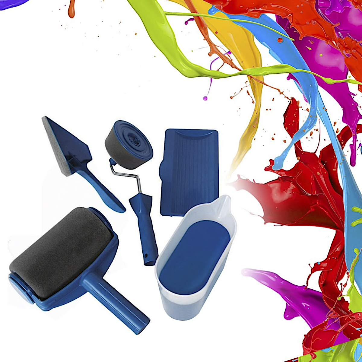 Rodillo de pintura para pintar, 5 piezas, sistema de pintura con depó sito rellenable, bricolaje, pintar sistema de pintura con depósito rellenable Bluebd