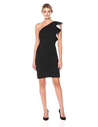 00e77d843130 Carmen Marc Valvo Infusion Women's One Shoulder Ruffle Dress at Amazon  Women's Clothing store: