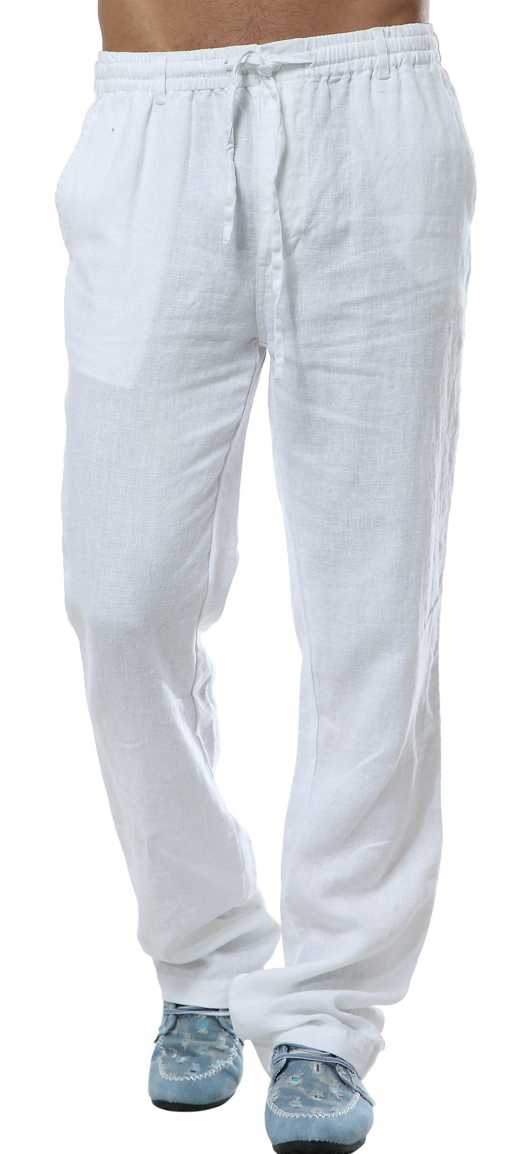 utcoco Men's Mid Waist Straight Leg Linen Thin Pants XX-Large Light Blue