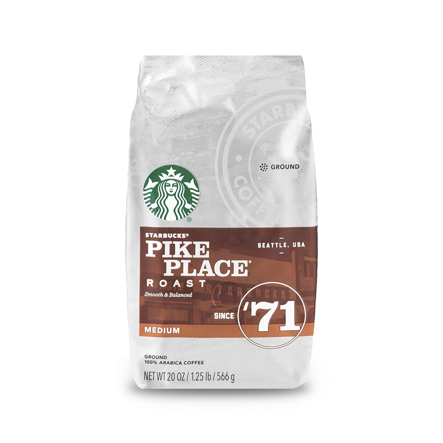 Starbucks Pike Place Roast Medium Roast Coffee, Ground, 20-ounce bag