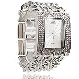 FACILLA® Damen Armband Uhr Damenuhr Armbanduhr Quarzuhr Legierung Silberfarbig mit Strass