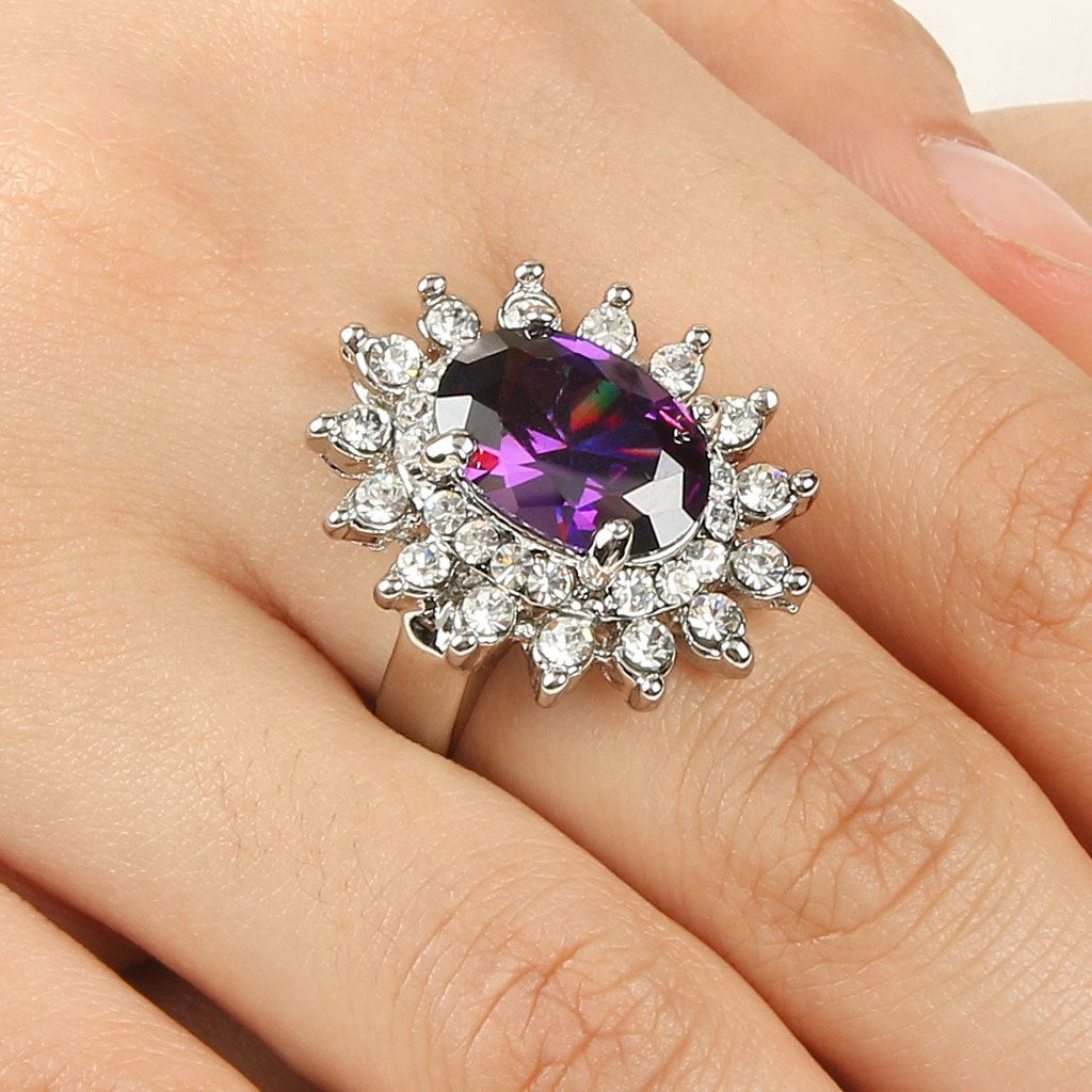 Vintage Style Jewelry, Retro Jewelry EVER FAITH Silver-Tone Womens Cubic Zirconia Oval Flower Cocktail Ring Purple Austrian Crystal  AT vintagedancer.com