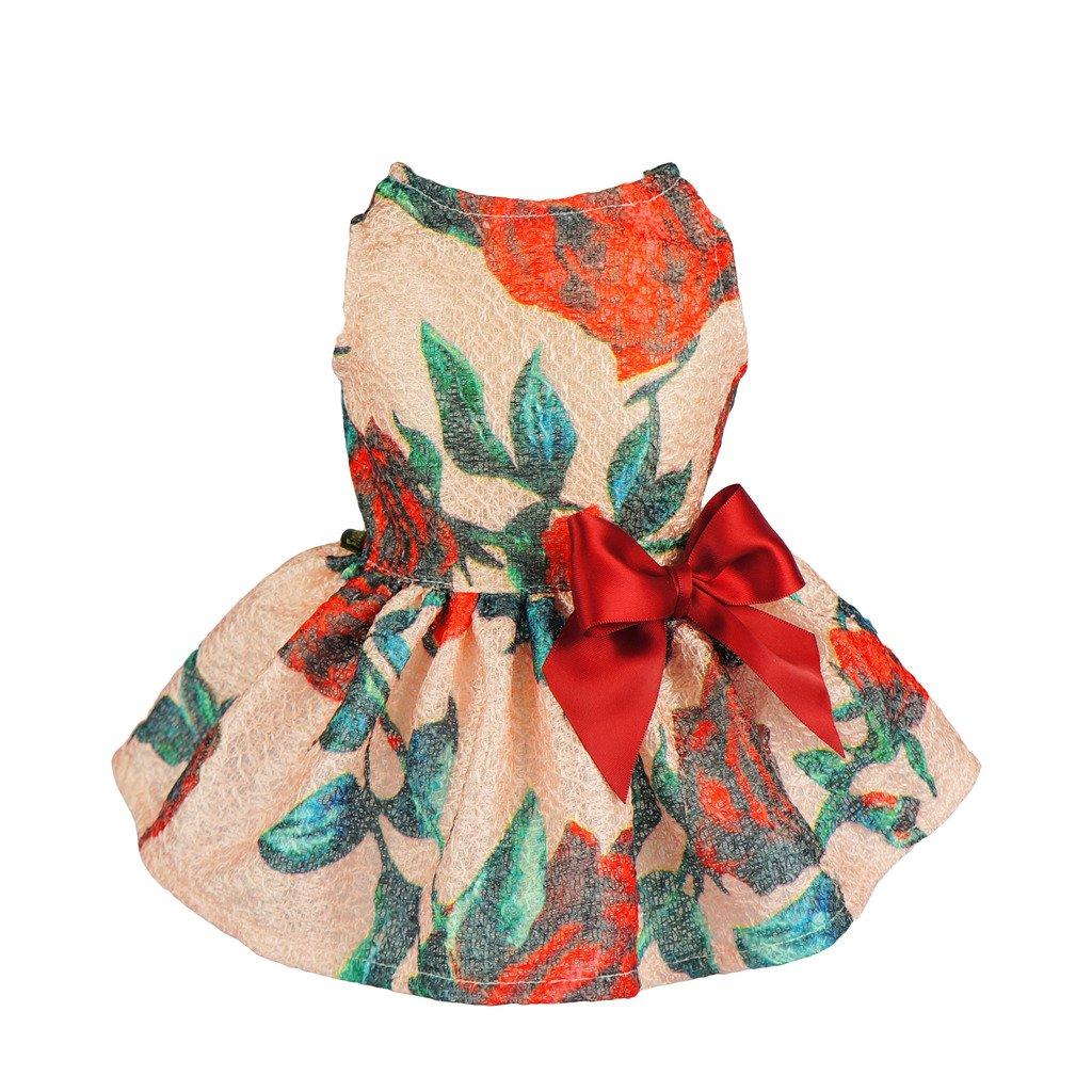 Fitwarm Elegant Rose Dog Dress Floral Ribbon Pet Clothes Vest Shirts, Red, XXS