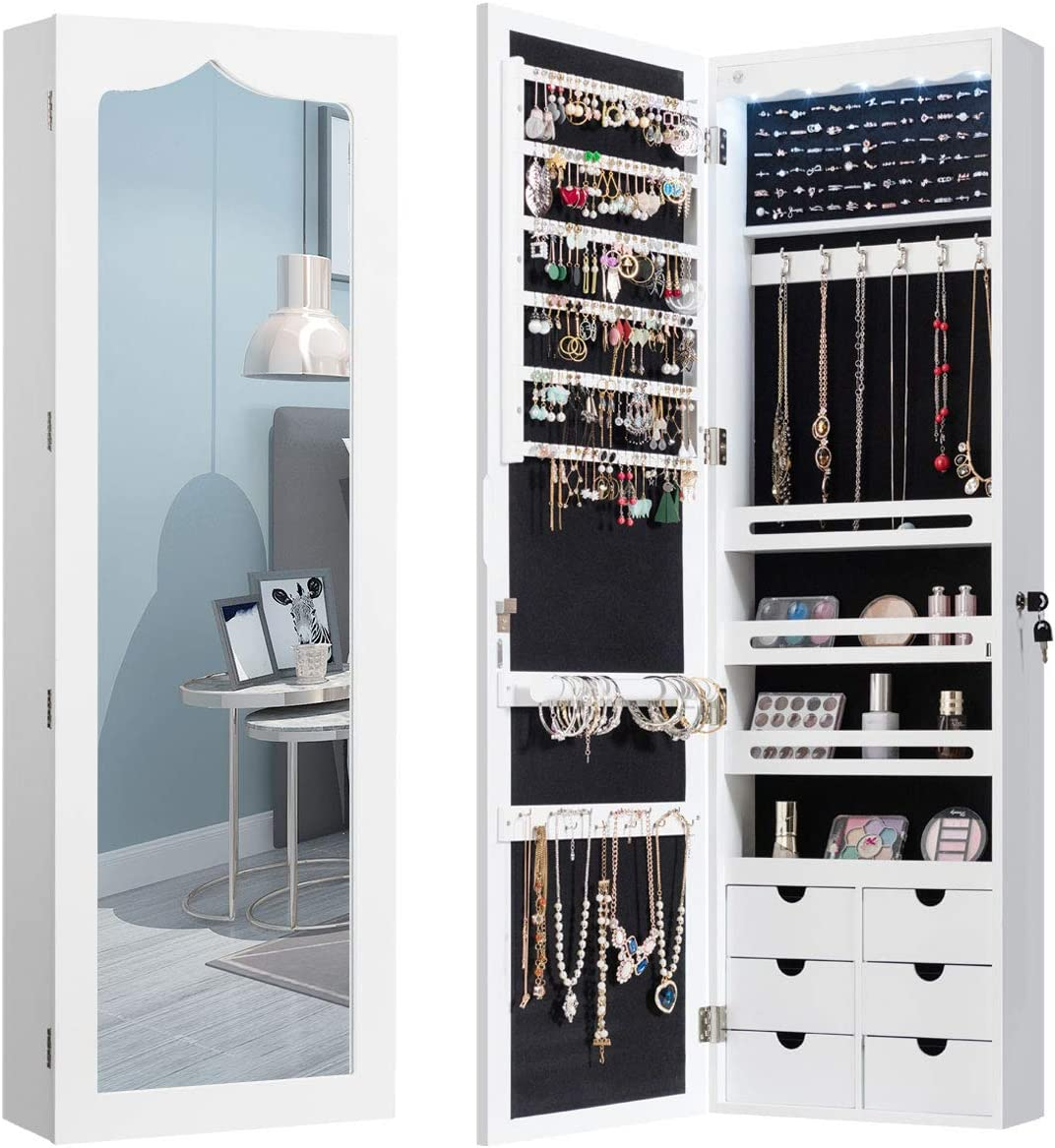 Wall//Door Mounted Cabinet with Full Length Mirror LUXFURNI Jewelry Armoire Organizer