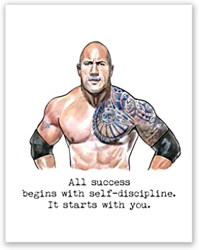 Atozstudio A64 Dwayne Johnson Poster The Rock Wall Art Decor Quote Picture Motivational Artwork Bodybuilding Gym Training Movie 11x14
