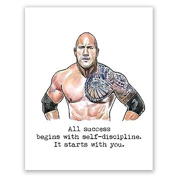 Atozstudio A64 Dwayne Johnson Poster The Rock Wall Art Decor Quote Picture Motivational Artwork Bodybuilding Gym Training Movie 8x10