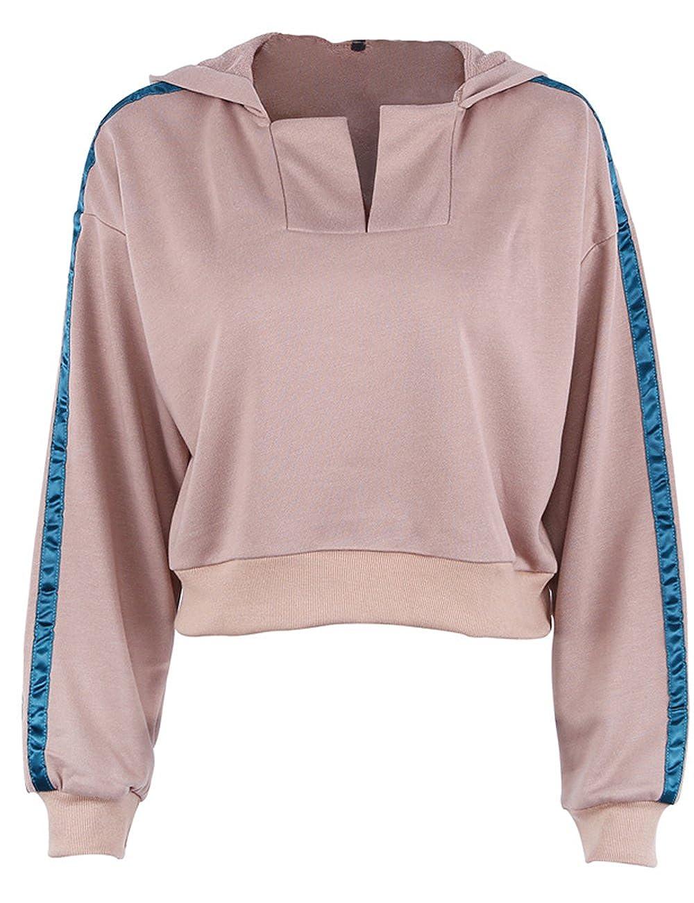 Womens Striped Side Crop Top Sweashirt Pullover Long Sleeve Fashion Street Cropped Jumper Hoodie