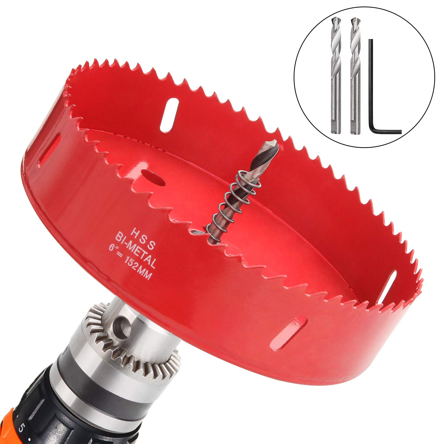 6 inch Hole Saw Blade for Cornhole Boards Corn Hole Drilling Cutter 152mm in Diameter BI-Metal Heavy Duty Steel & Hex Shank Drill Bit Adapter By STARVAST for Cornhole Game, Home Improvement (Red)