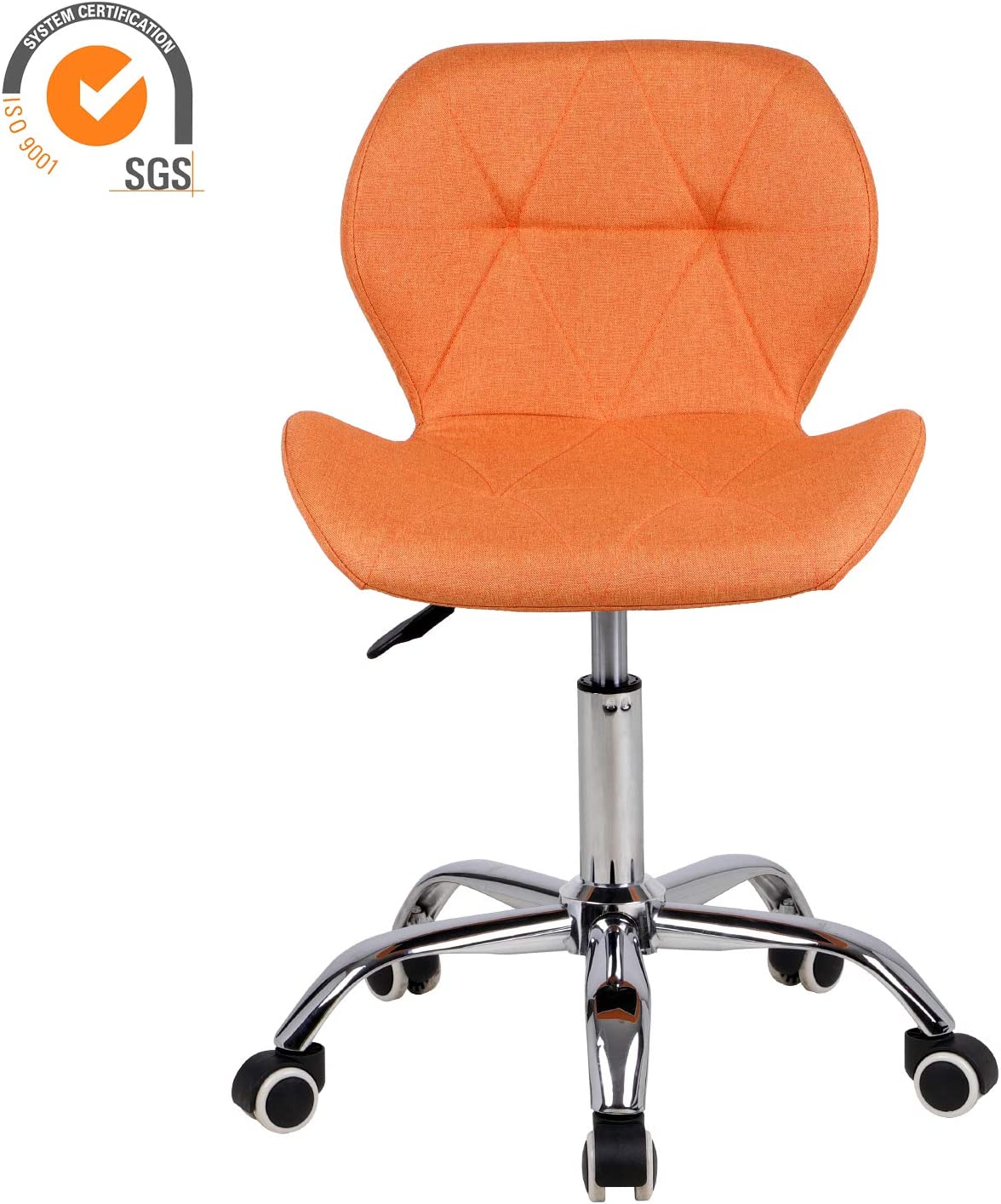 EUCO Office Chair,Brown PU Leather Desk Chair for Home Adjustable Height Swivel Chair Comfy Padded Computer Chair,Home//Office Furniture