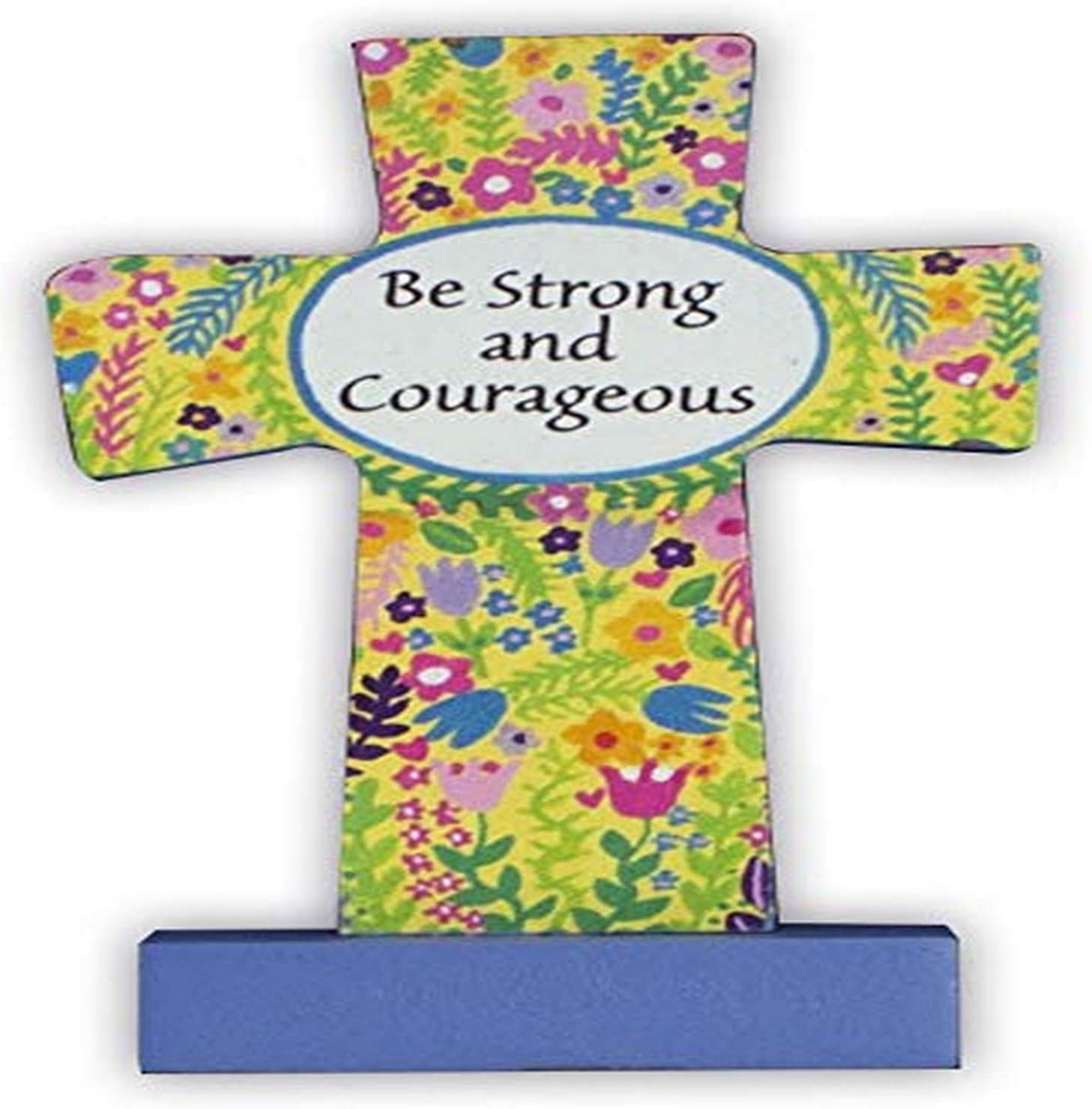Cathedral Art Comfort Cross Be Strong and Courageous Multicolored