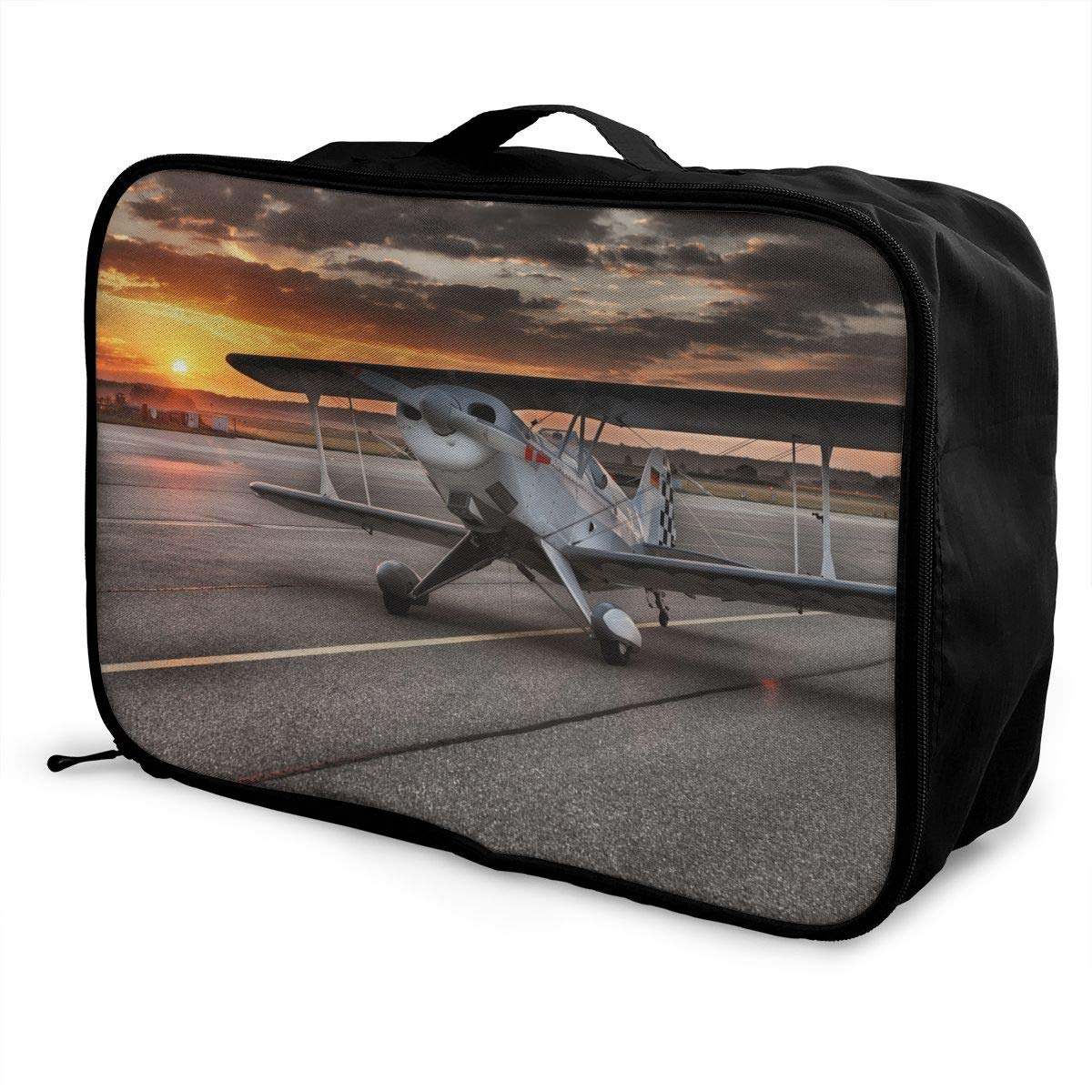 Travel Luggage Duffle Bag Lightweight Portable Handbag Small Plane Pattern Large Capacity Waterproof Foldable Storage Tote