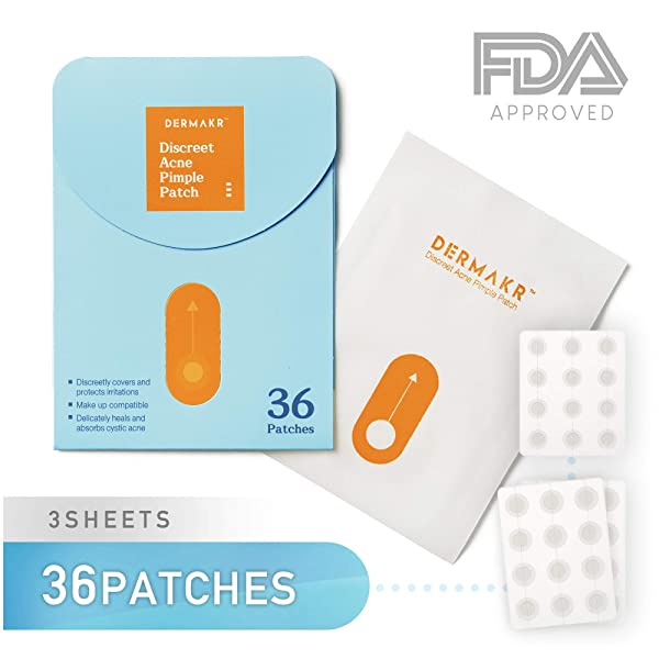 DERMAKR Discreet Acne Pimple Patch | Spot Cover & Treatment Solution Cystic Acne & Pimple Scars | Hydrocolloid Facial Stickers | Waterproof & Bacteria Free Patches Quick Healing Pimples (Color: Value Pack : 36 Patches)