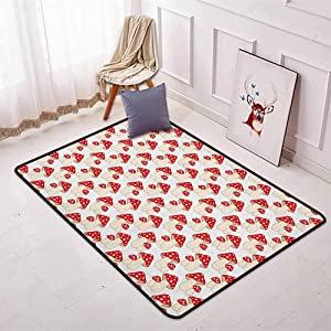 Mushroom Better Protection Cartoon Style Cute Amanita Mushrooms Dotted Forest Plants Summer Nature Kids Design Kid Game Carpet W47.2 x L71 Inch Cream Red