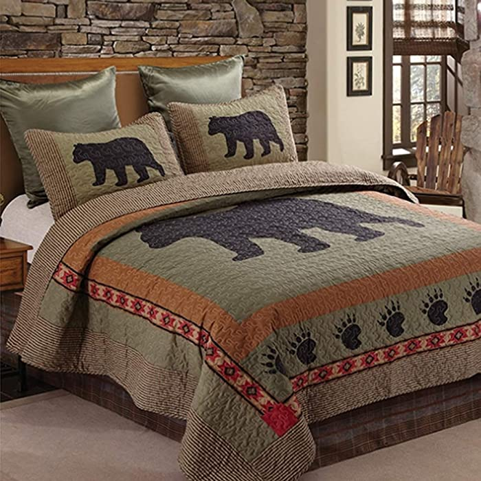 Regal Comfort Bear 3pc Bear and Paw Microfiber Cabin Lodge Quilt Set, King Size