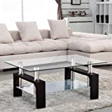 VIRREA Glass Coffee Table Shelf Chrome Base Living Room Furniture (Rectangular, Black)